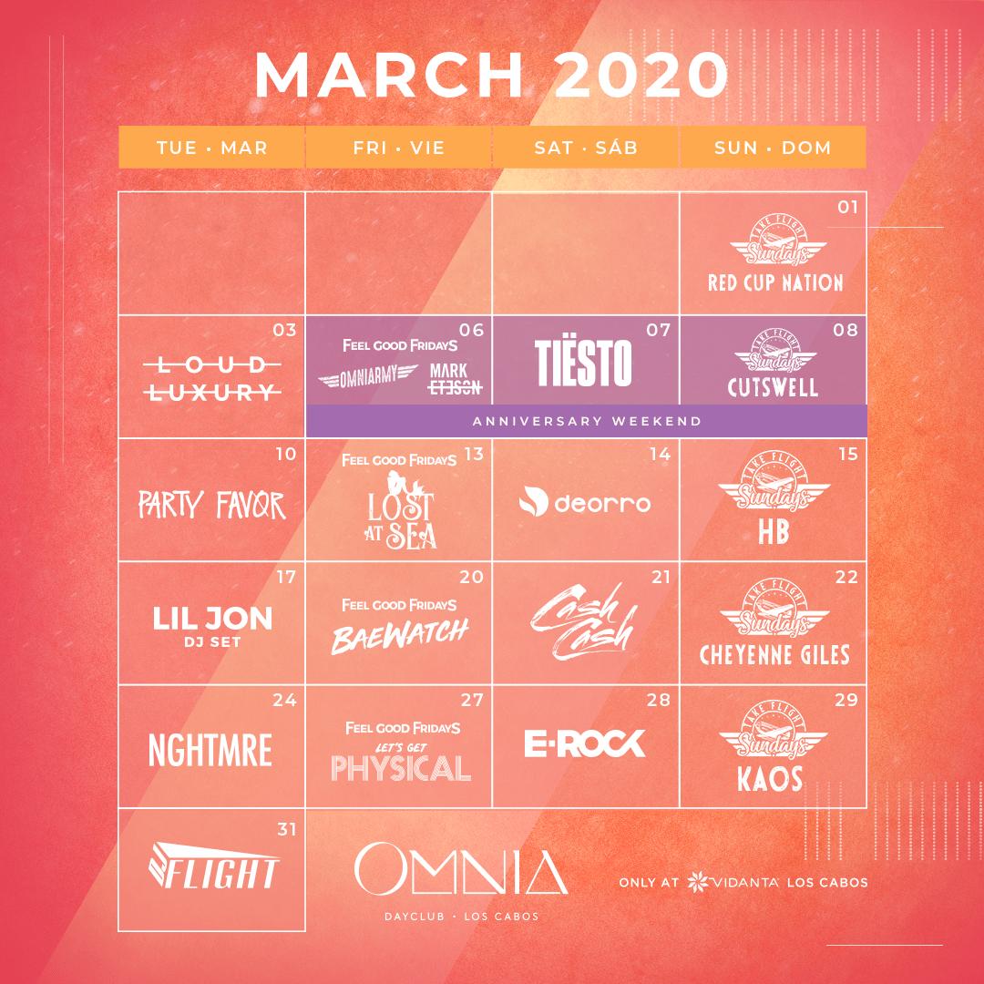 March calendar of events at OMNIA Los Cabos